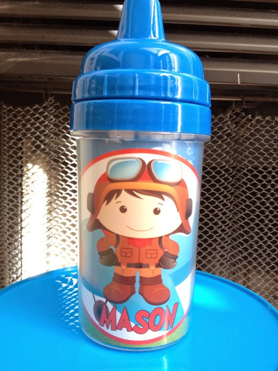 Lil Aviator Pilot Boy Airplane Themed Personalized Baby Spill Proof 10oz Sippy Cup birthday boy red blue