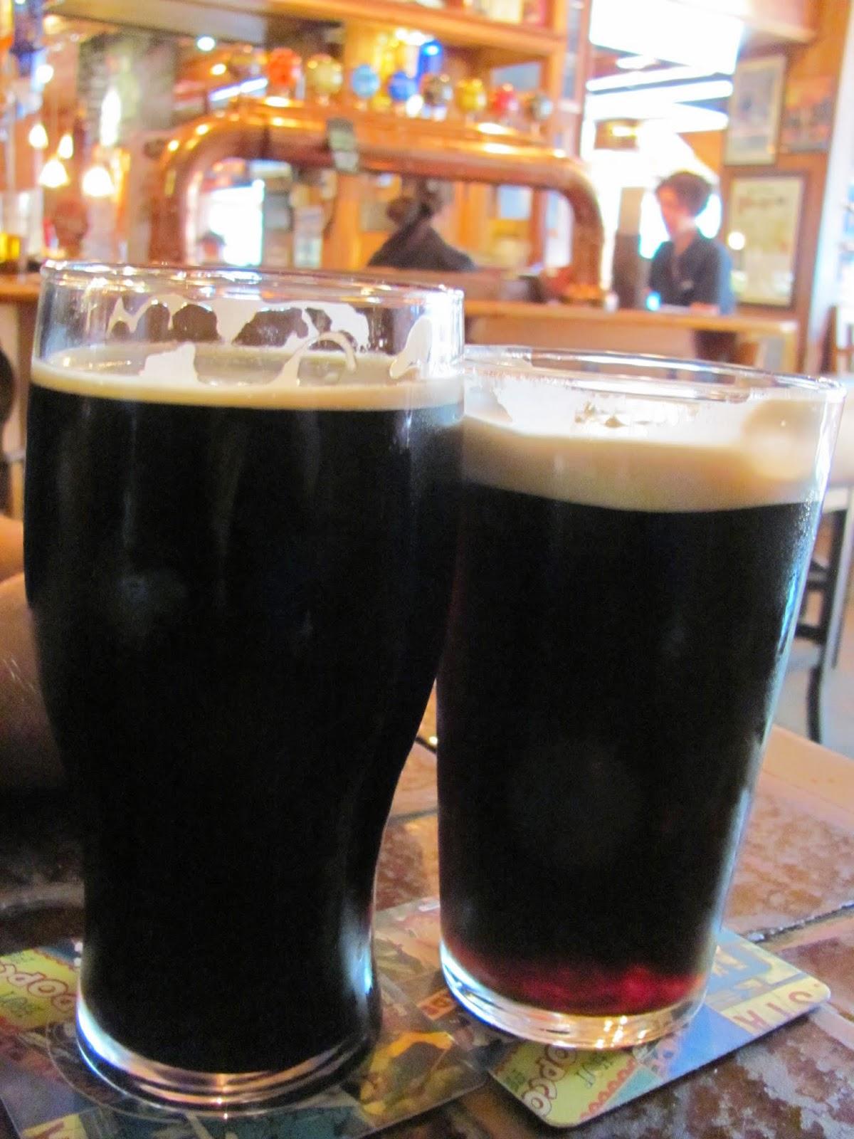 Celebration Porter (left) Plain Porter (right) at Porterhouse Dublin