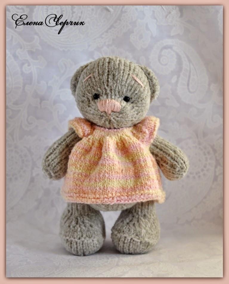 Вязание игрушки мишки спицами 29