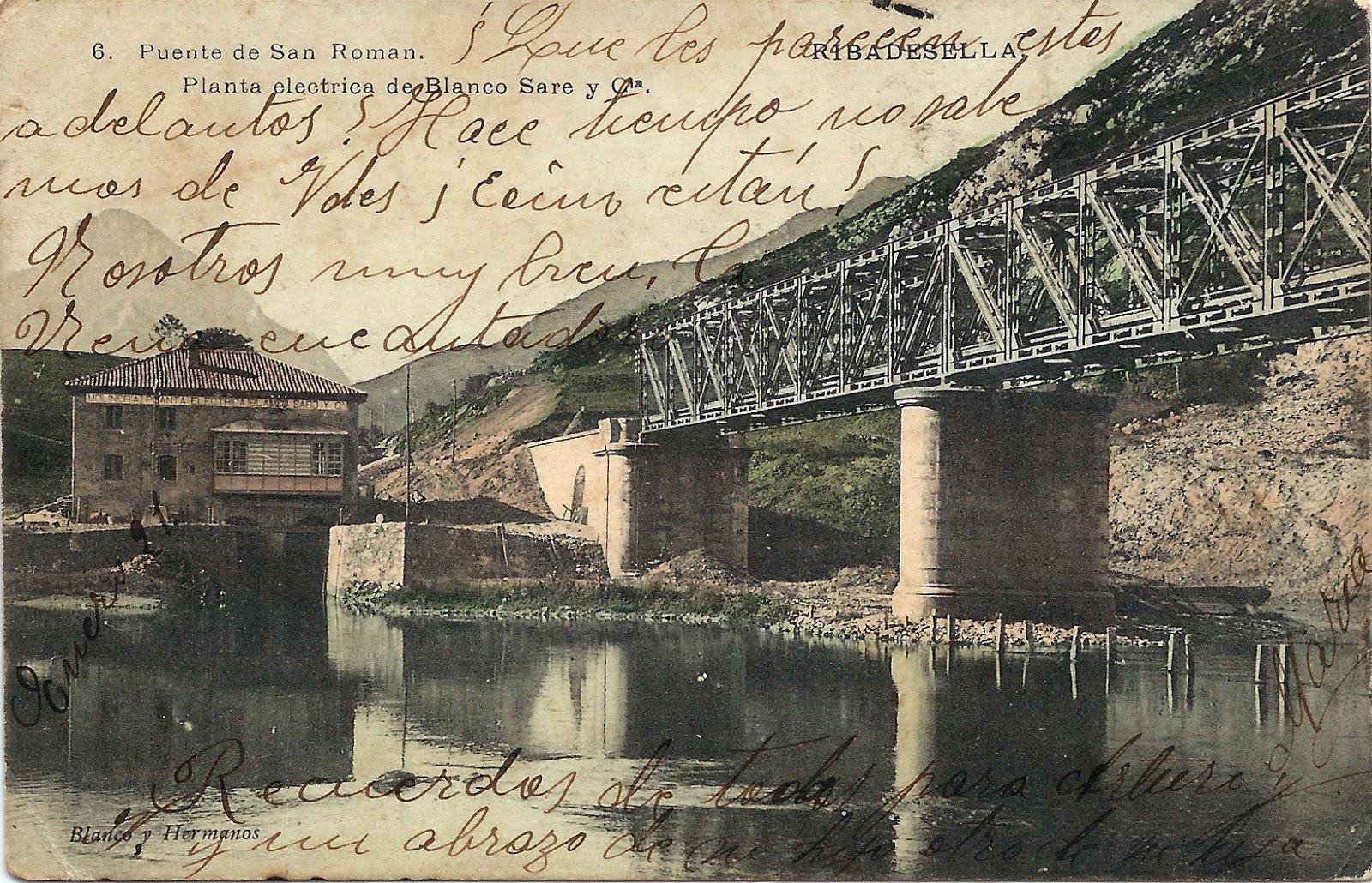 Postal puente de San Román, planta eléctrica de Blanco Sare, Ribadesella