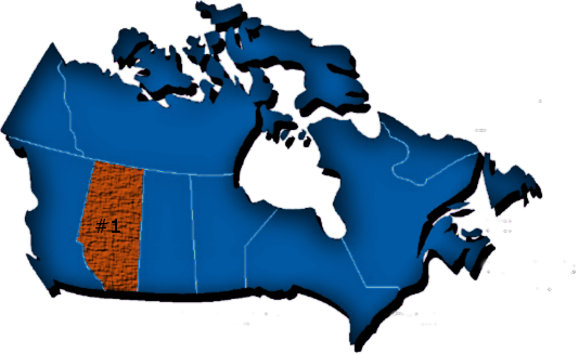 Map of Canada with Alberta highlighted in orange.
