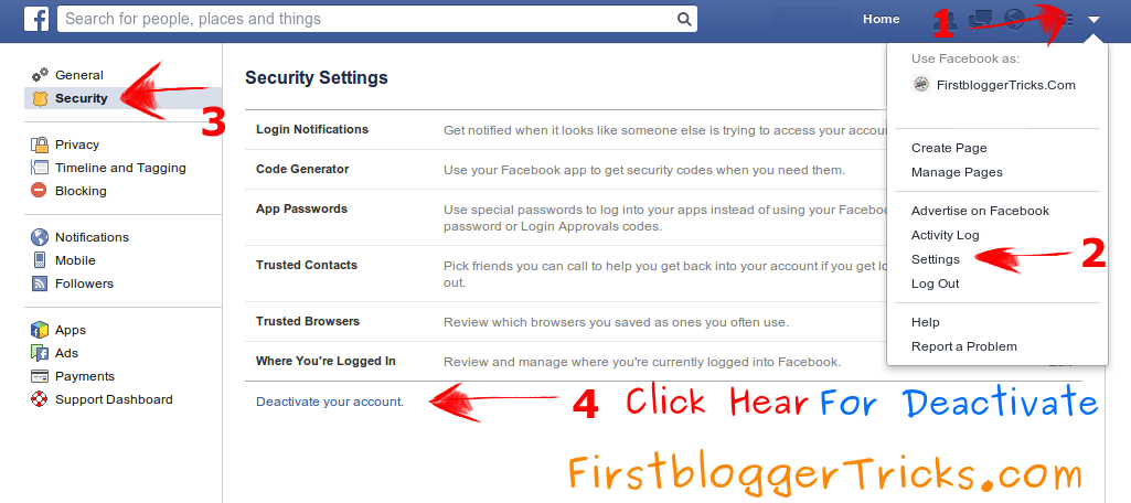 How to delete facebook account in just four steps first blogger 1 open facebook account by using email id or mobile number then show in blue windows in your facebook header then click on right side last error button ccuart Images