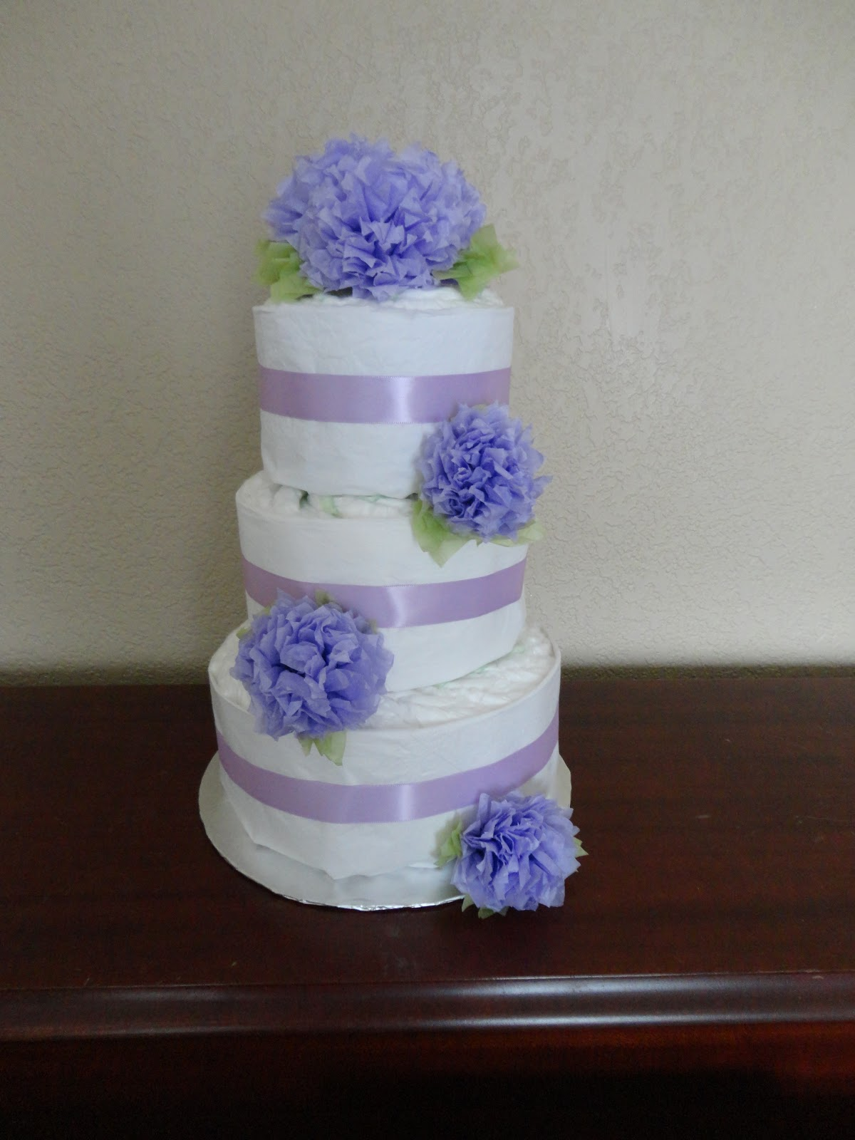 Cake Lady In Training Purple Flower Diaper Cake