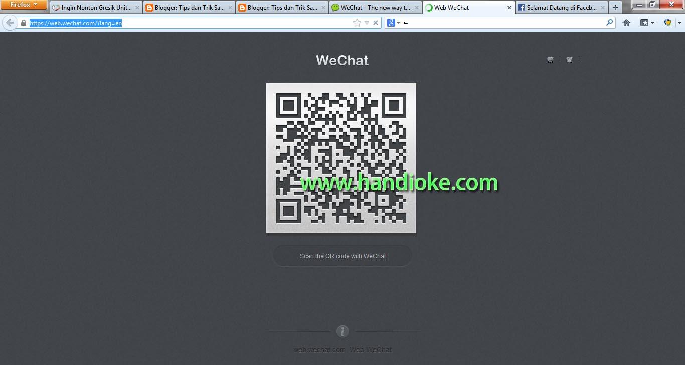 Tampilan QR Code pada Web WeChat dikomputer