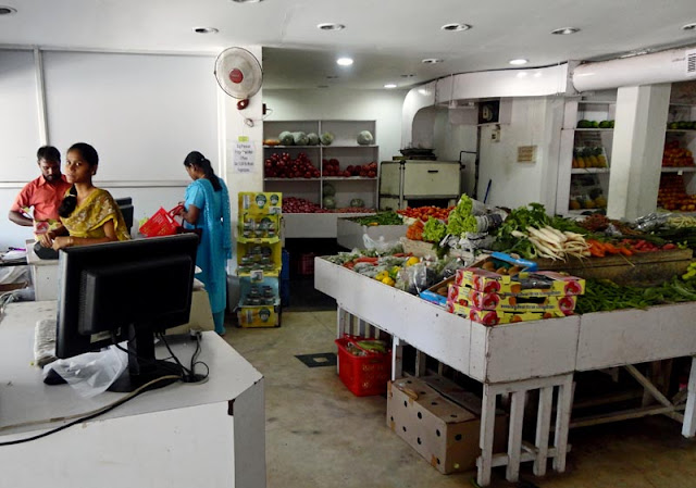 fruit and vegetable section of a supermarket in India