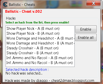 Ballistic Cheats Damage, No Recoil, Ammo & Show Name Hack