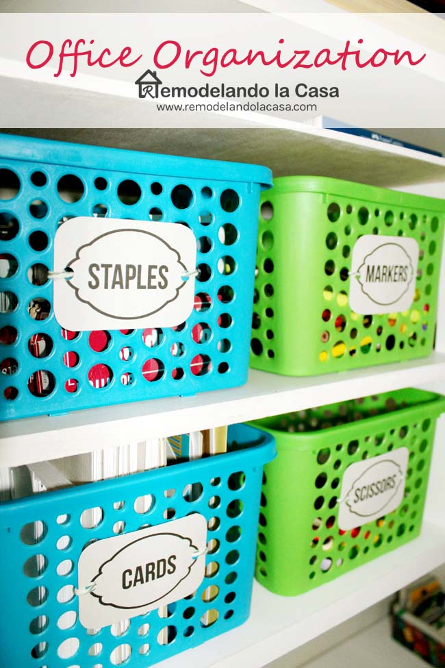 plastic containers to store staples, markers, cards, scissors, etc.