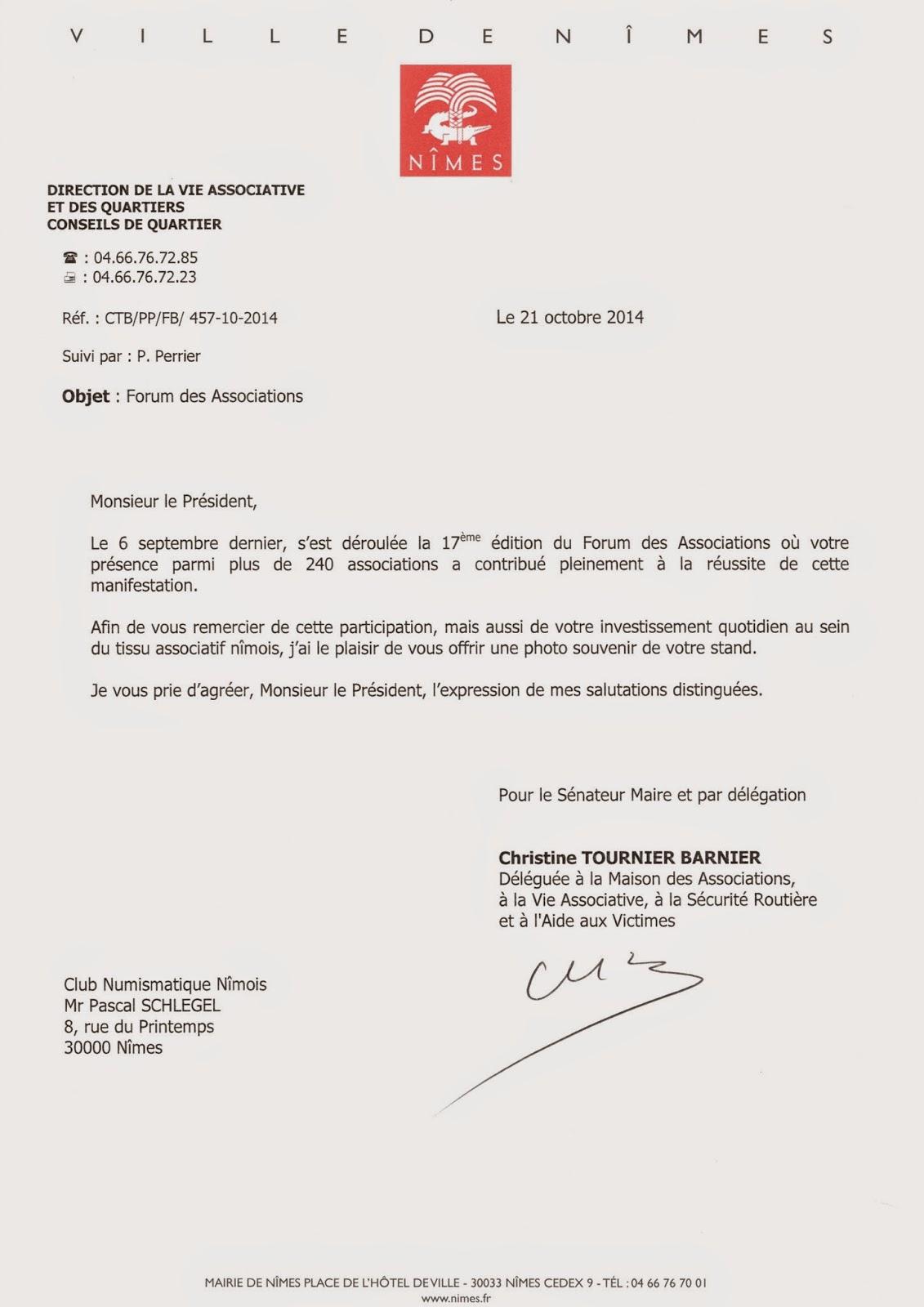 Club Numismatique Nîmois: Remerciement de la mairie de Nîmes pour