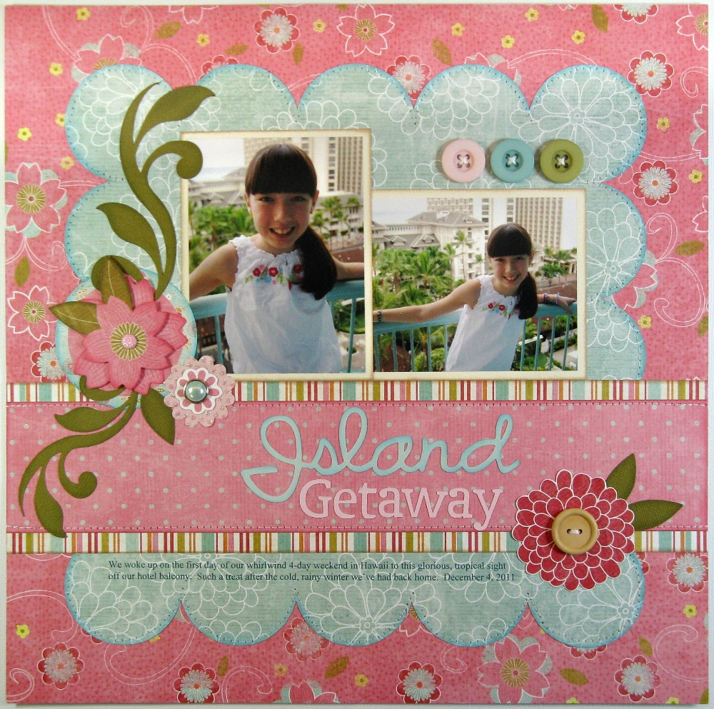 Scrapbook ideas hawaii - Today S Layout Is One Of The Layouts I Completed During Last Year S 3 Day Crop Using Some Older My Mind S Eye Papers From Their Pretty Please Collection
