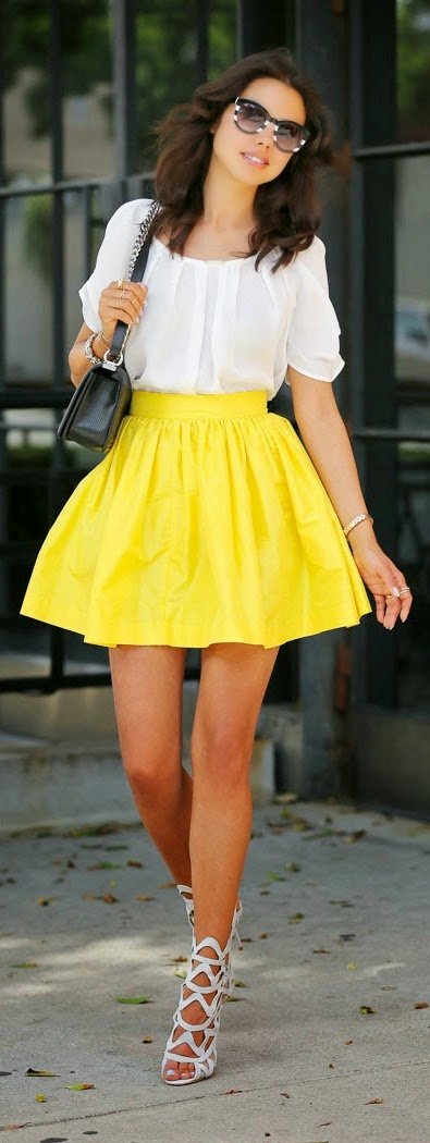 Yellow Full Skirt with chic White Top | Pop Street Outfits