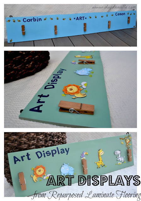How to make a decorated art display from upcycled laminate flooring. This is a great way to repurpose leftover laminate flooring, even if the flooring was damaged.