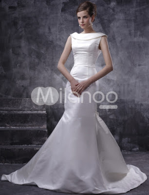 Magnifique satin blanc sans manches Robe de mariée A-ligne