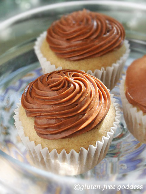 Gluten-free Goddess vanilla cupcakes with mocha icing