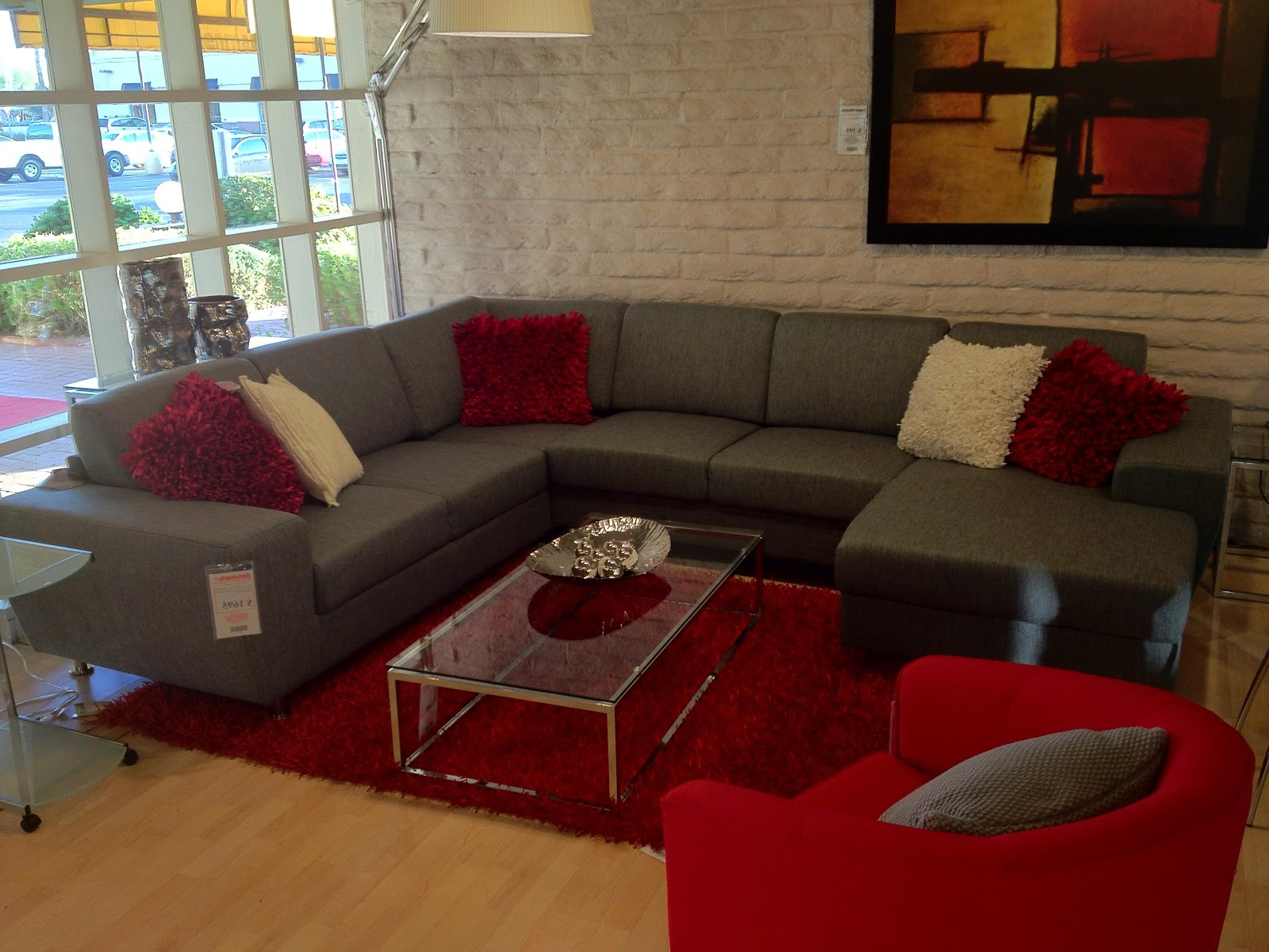 Grey couches Red accents and Couch on Pinterest