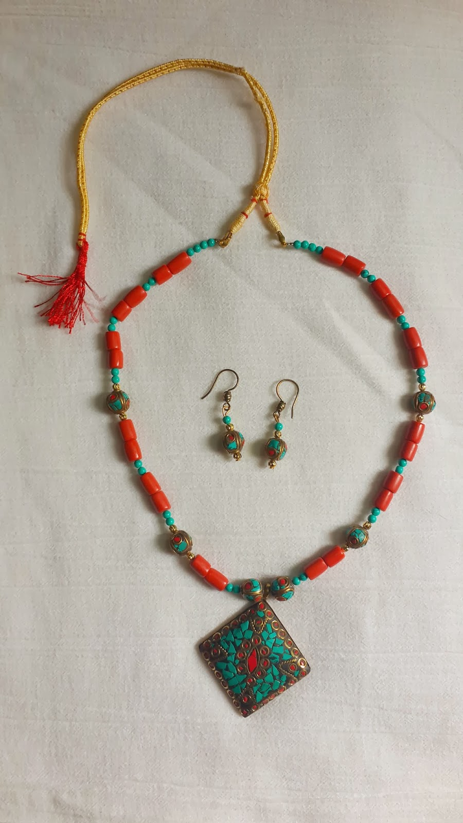 Coral and Tibetan Beads Jewelry
