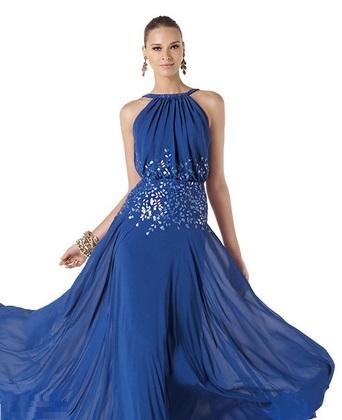 Vestidos en azul metalico