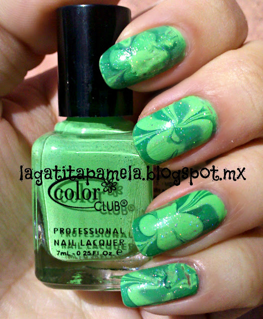 st. patrick's day water marble nails