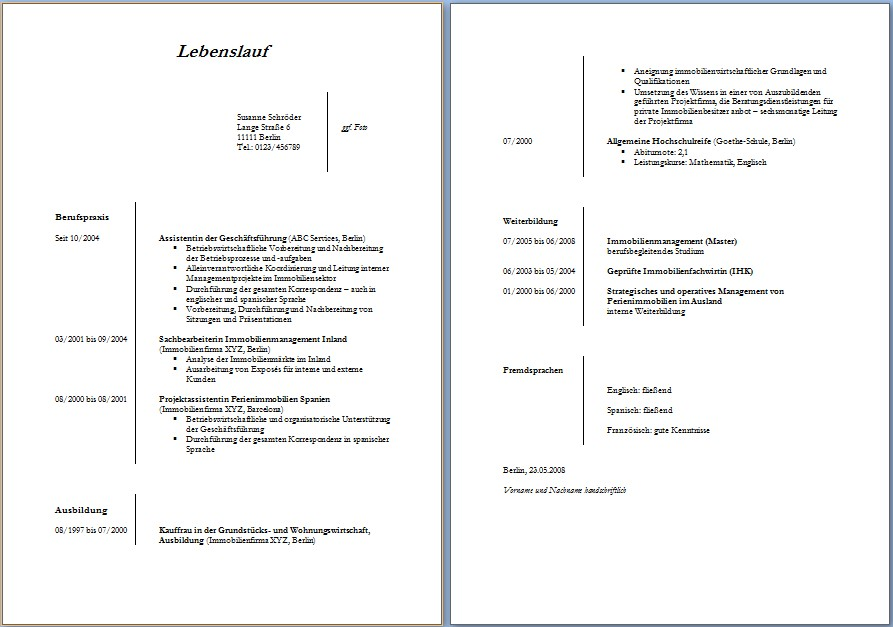 Lebenslauf vorlagen ~ Dokument Blogs