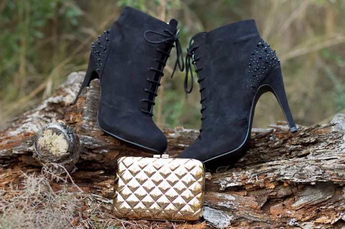 Spiked Ankle Boots and Golden Quilted Clutch by VICTORIA DELEF