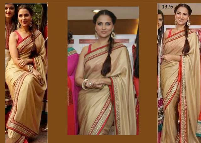 1375 - Bollywood actress Lara Dutta in beautiful Gold Designer Plain saree