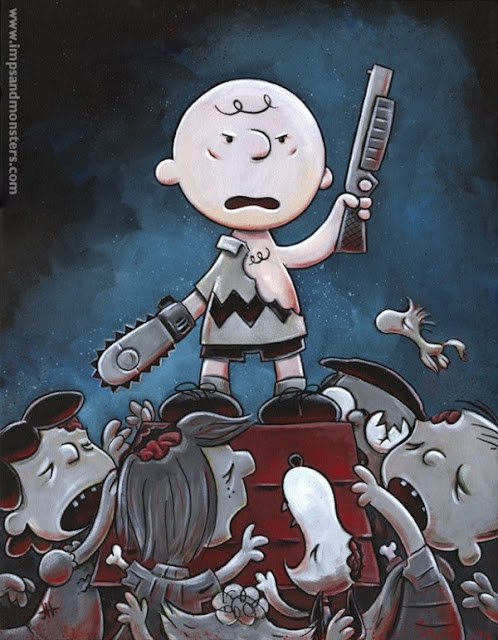 mashup art, peanuts and evil dead