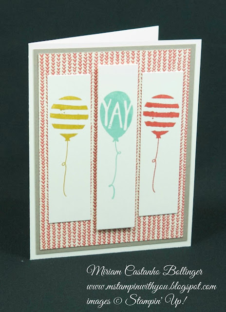 Miriam Castanho Bollinger, #mstampinwithyou, stampin up, demonstrator, ppa, birthday card, sweet li'l things dsp, balloon bash stamp set, su