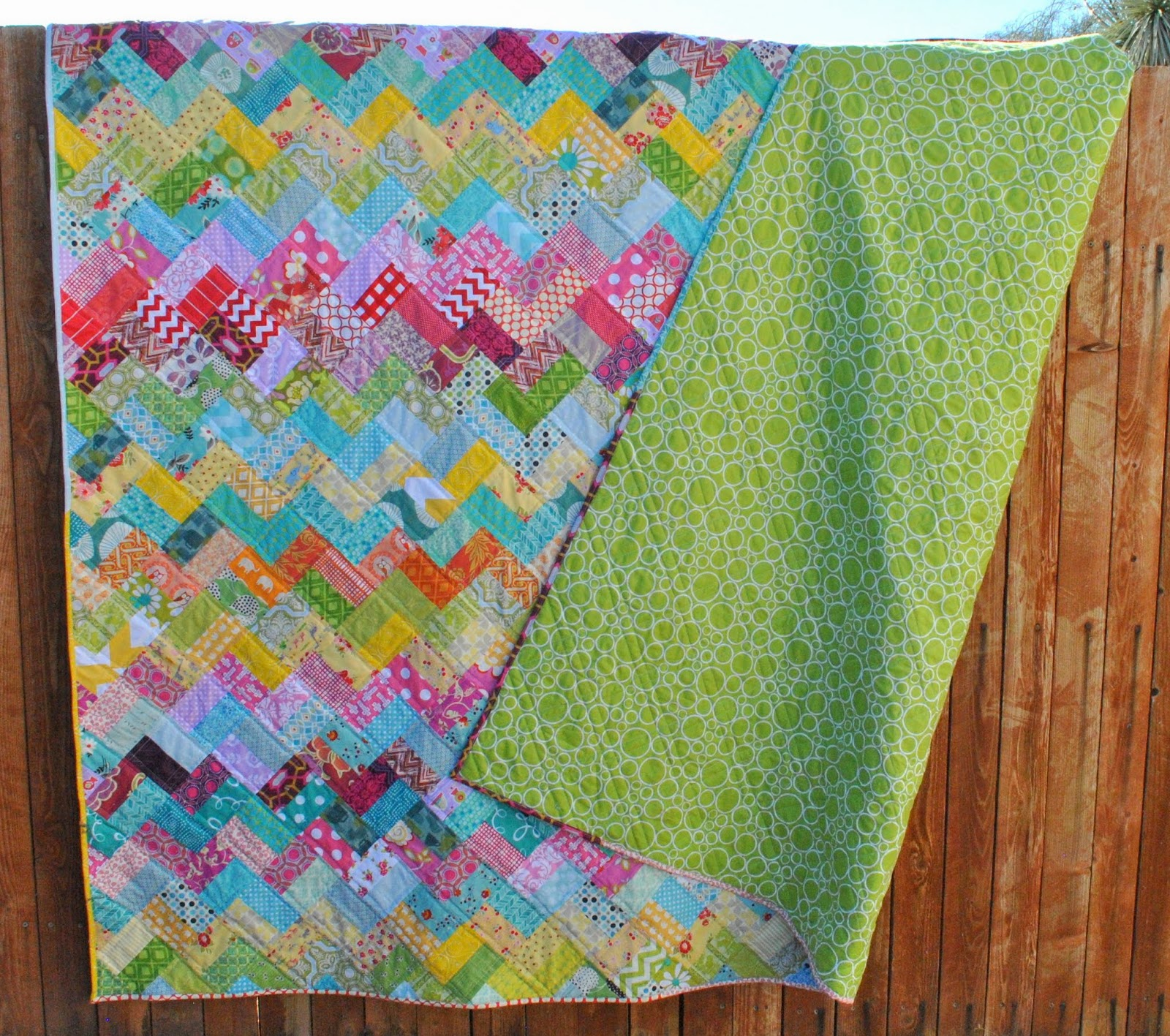 scrappy chevron quilt back