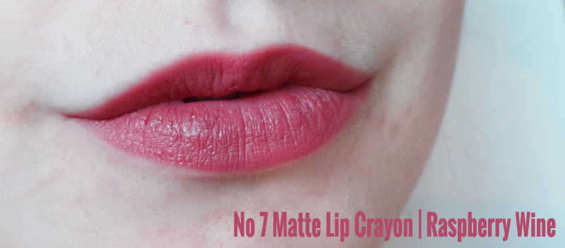 no 7 matte lip crayon raspberry red raspberry wine review swatches, 7 autumn make up collection, no 7 make up, no 7 blog review, no 7 make up review, no 7 cosmetics at boots, no 7 blogger, makeup review, cosmetics review, beauty blog, uk beauty blog, uk beauty blogger, uk fashion blogger, fashion blog, lauras all made up uk beauty blog