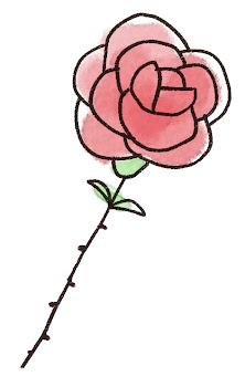 バラ一輪のイラスト