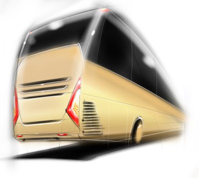 Design bus Raja by Ririe (Senior Designer Karoseri Laksana) Rear