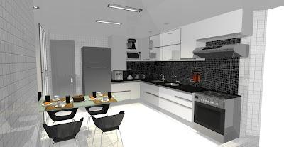 Cozinha com pastilhas de vidro preta