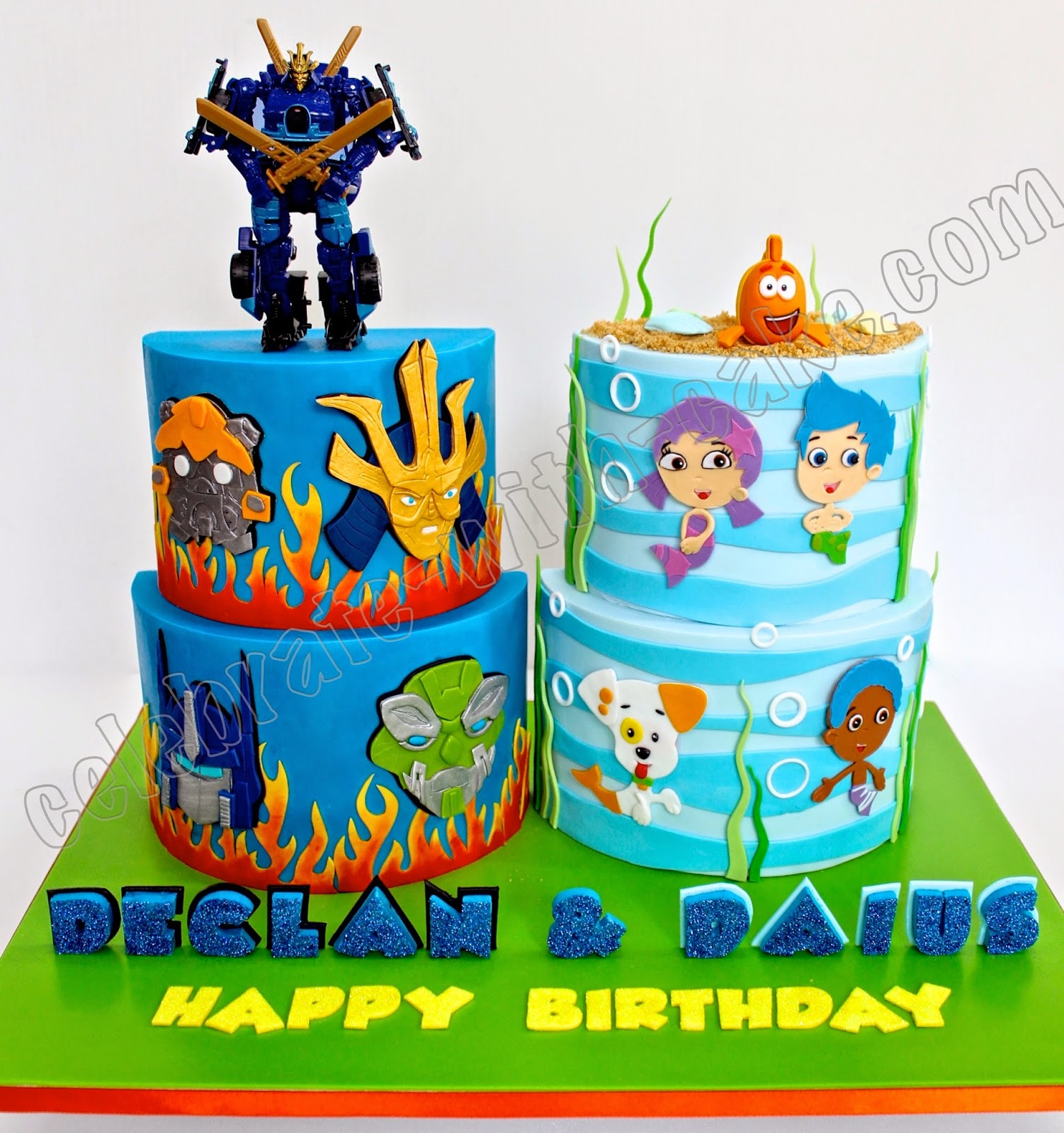 celebrate with cake transformer and bubble guppies