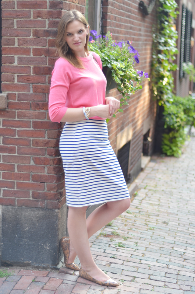 No. 2 Pencil Skirt in Deck Stripe