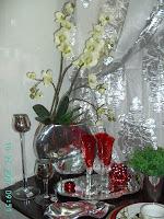 Vaso lua alumínio com orquídeas