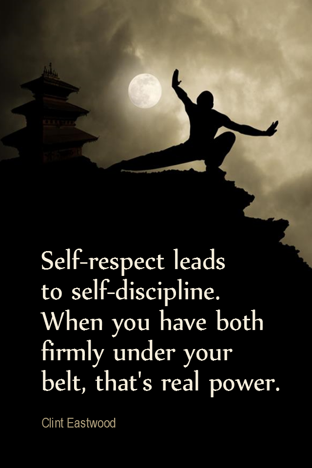 visual quote - image quotation for SELF-ESTEEM - Respect your efforts, respect yourself. Self-respect leads to self-discipline. When you have both firmly under your belt, that's real power. - Clint Eastwood