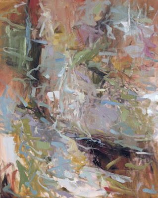 Abstract oil painting by Karri McLean Allrich 30x24 Even the Rain Dreams