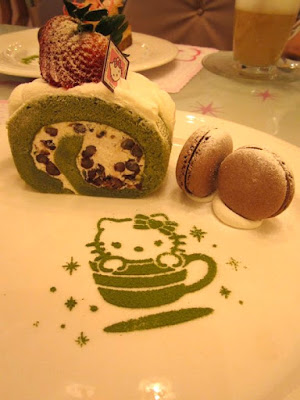 Green tea and red bean roll cake set at Hello Kitty Sweets in Taipei