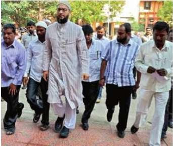 MIM MP Asaduddin Owaisi arrives at the Sangareddy district court