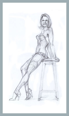 sitting pin-up girl sketch