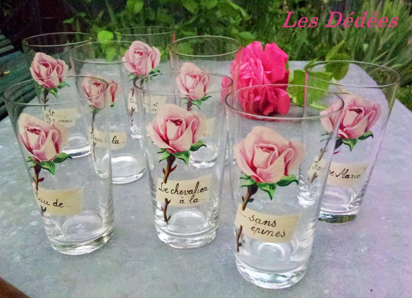 les dedees vintage recup creations 8 verres fins anciens a l 39 eau de rose by anne. Black Bedroom Furniture Sets. Home Design Ideas