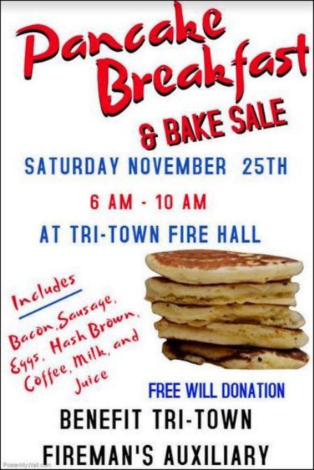 11-25 Pancake Breakfast, Tri-Town Fire Aux.