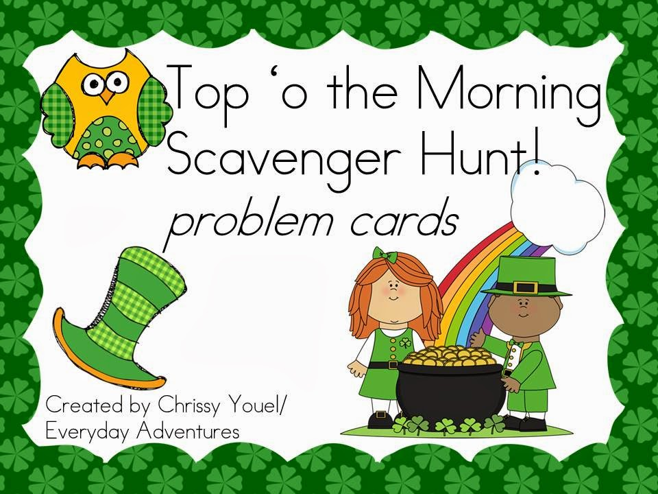 http://www.teacherspayteachers.com/Product/Leprechaun-Scavenger-Hunt-Math-221464