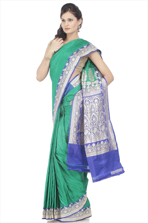Emerald Green Satin Banarasi Saree