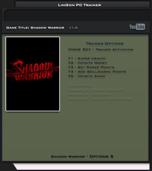 Shadow Warrior v1.0 Proper +5 Trainer [LinGon]