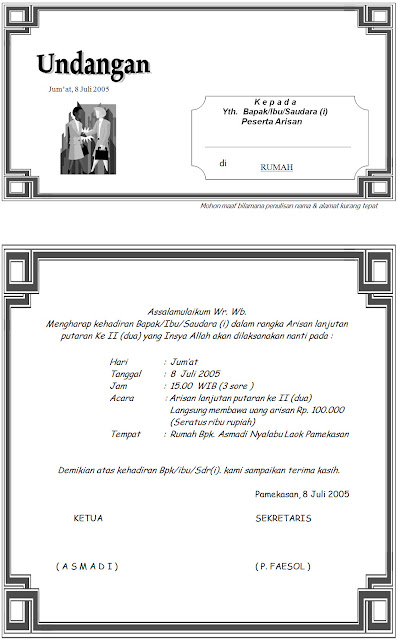 Download Contoh Undangan Arisan