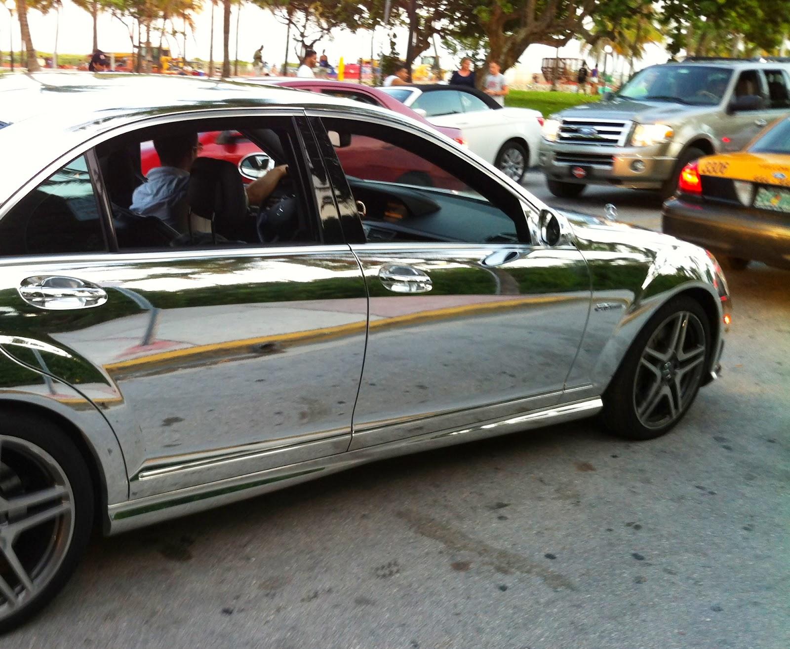 Chrome Mercedes Benz S63 on Miami Beach