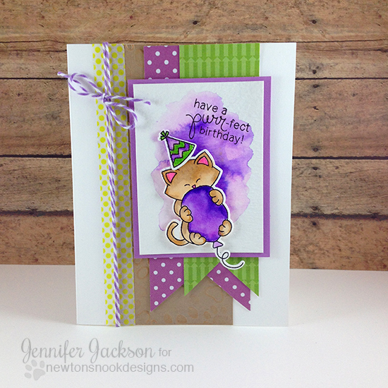 Kitty Birthday card by Jennifer Jackson | Newton's Birthday Bash stamp set by Newton's Nook Designs