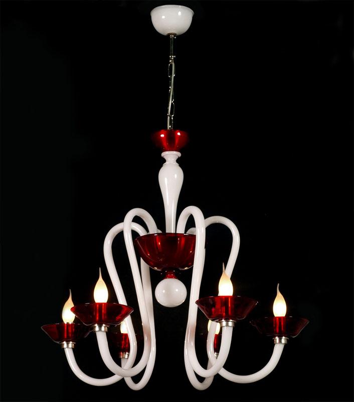 Lampadario design moderno vetro murano lattimo bianco rosso -> Lampadario Vetro Murano Design