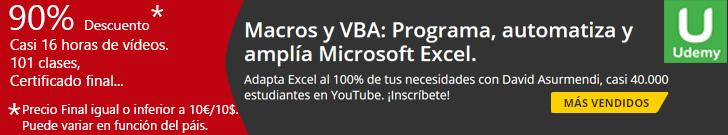 Curso Macros y VBA Excel Udemy