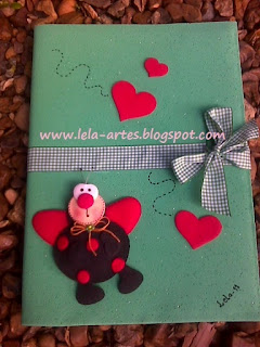 lindo caderno em eva joaninha